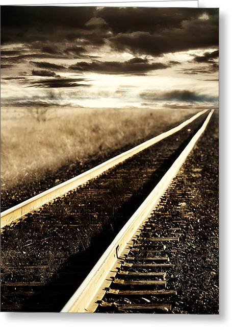 Railroad Greeting Cards - Into the Sunset Greeting Card by Rebecca Cozart