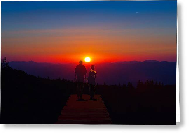 Into The Sunset Together Greeting Card by John Haldane
