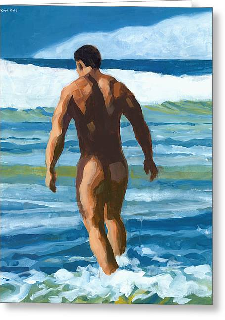 Muscular Greeting Cards - Into the Surf Greeting Card by Douglas Simonson