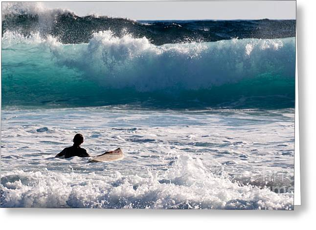 Surfing Board Greeting Cards - Into The Surf Greeting Card by Rick Piper Photography