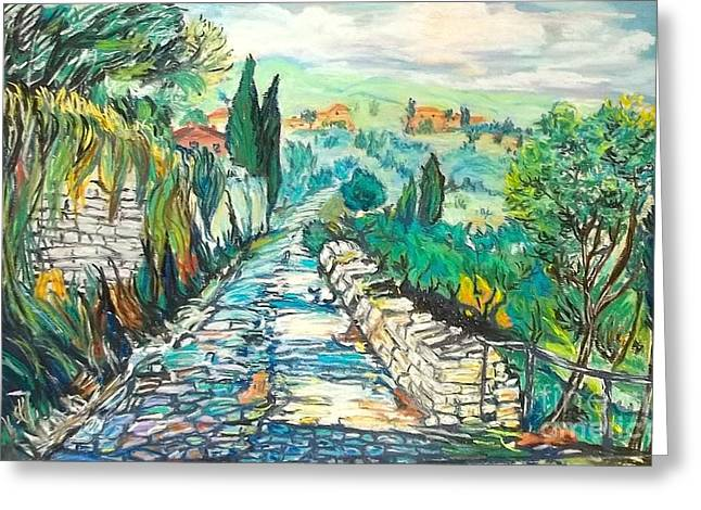Winemaking Paintings Greeting Cards - Into the Tuscan countryside Greeting Card by Frank Giordano