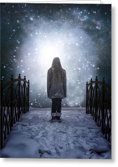 Snowy Night Greeting Cards - Into The Unknown Greeting Card by Joana Kruse