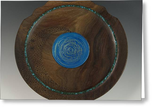 Wood Art Sculptures Greeting Cards - Into the Vortex Handmade Wood and Stone Wall Charger Greeting Card by Debra Breton