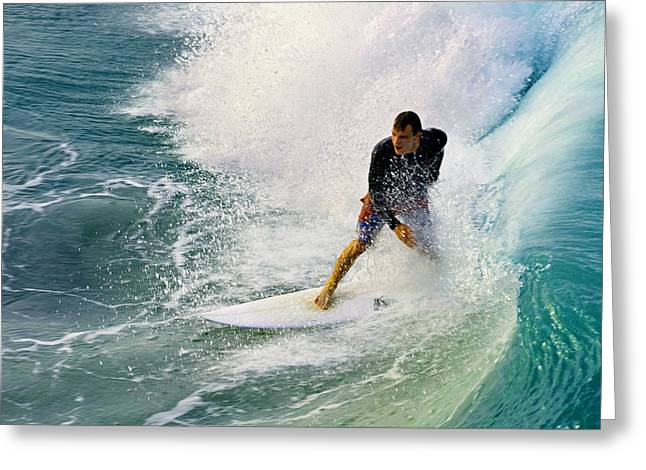 Surfing Art Greeting Cards - Into The Vortex Greeting Card by Laura  Fasulo