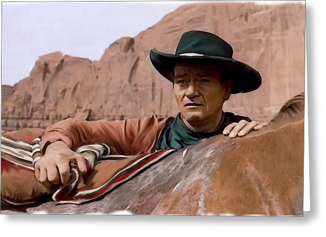 Universities Drawings Greeting Cards - Into The West John Wayne Greeting Card by Iconic Images Art Gallery David Pucciarelli