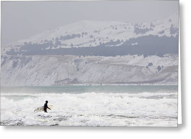 Into the Winter Surf Greeting Card by Tim Grams