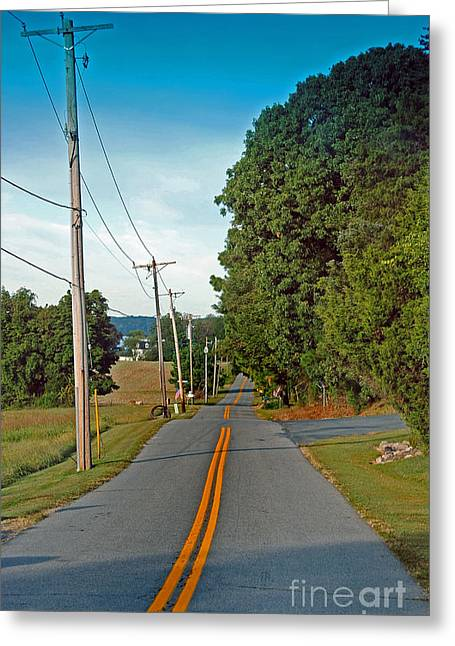 Yellow Line Greeting Cards - Into Town Greeting Card by Skip Willits