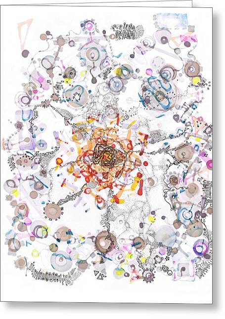 Divisions Drawings Greeting Cards - Intracellular Diversion Greeting Card by Regina Valluzzi