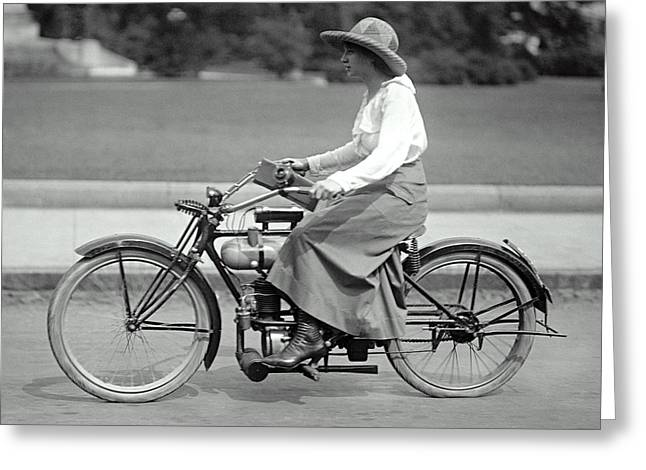 Intrepid Woman On Motorcycle C. 1917 Greeting Card by Daniel Hagerman