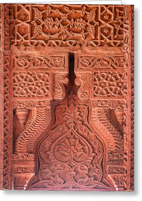 Handwork Greeting Cards - Intricate Carved Patteren Greeting Card by Linda Phelps