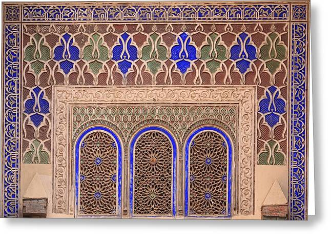 Moroccan Courtyard Greeting Cards - Intricate Painted And Stucco Patterns Greeting Card by Lizzie Shepherd