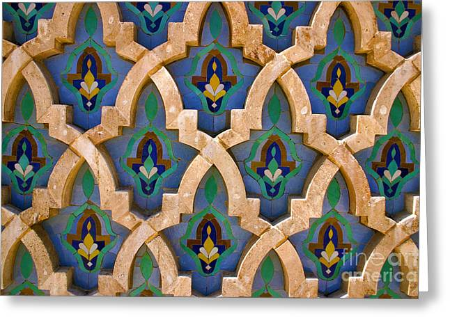 Intricate Zelji At The Hassan II Mosque Sour Jdid Casablanca Morocco Greeting Card by Ralph A  Ledergerber-Photography