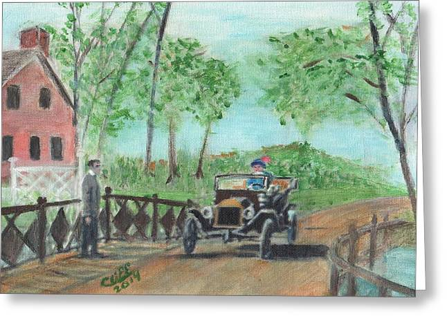 Ford Model T Car Paintings Greeting Cards - Intrigue Greeting Card by Cliff Wilson