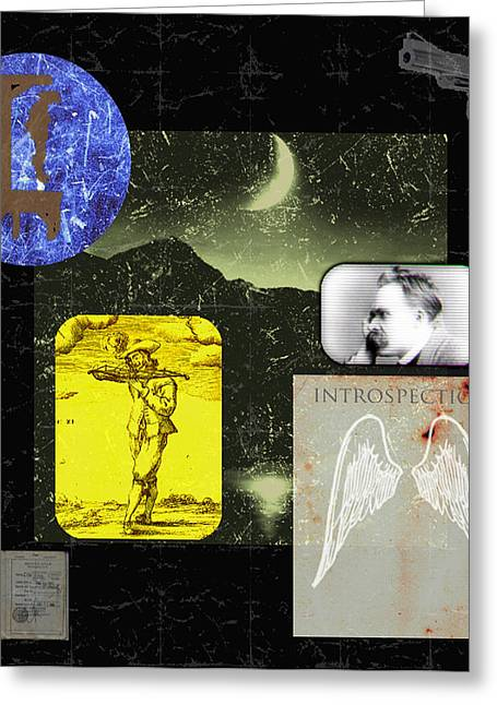 Diskrid Art Greeting Cards - Introspection Greeting Card by Diskrid Art