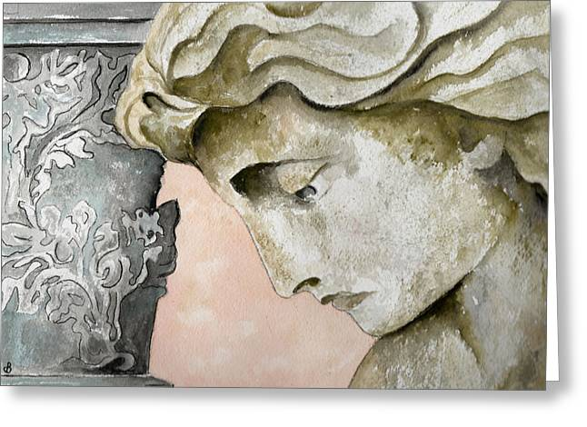 Statue Portrait Paintings Greeting Cards - Introspective Greeting Card by Brenda Owen