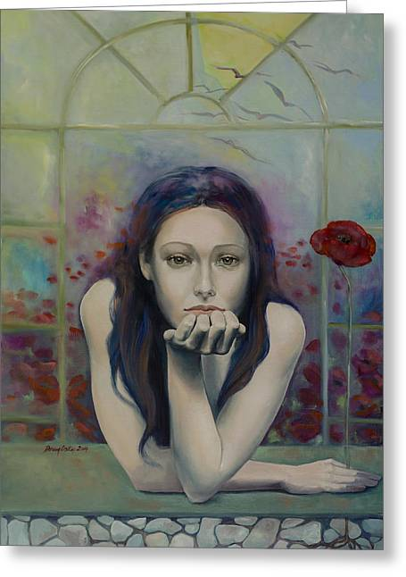 Recently Sold -  - Live Art Greeting Cards - Introversion Greeting Card by Dorina  Costras