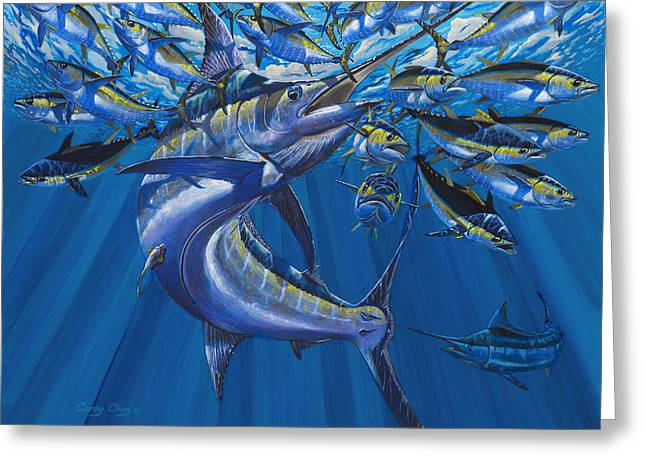 Scuba Diving Paintings Greeting Cards - Intruder Off003 Greeting Card by Carey Chen