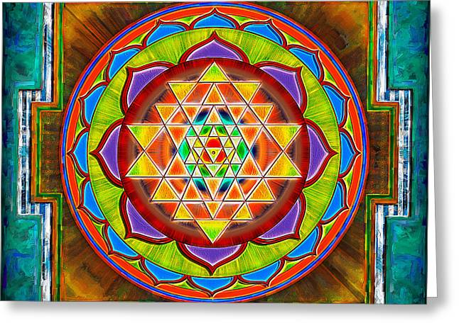 Buddhism Digital Art Greeting Cards - Intuition Sri Yantra II Greeting Card by Dirk Czarnota