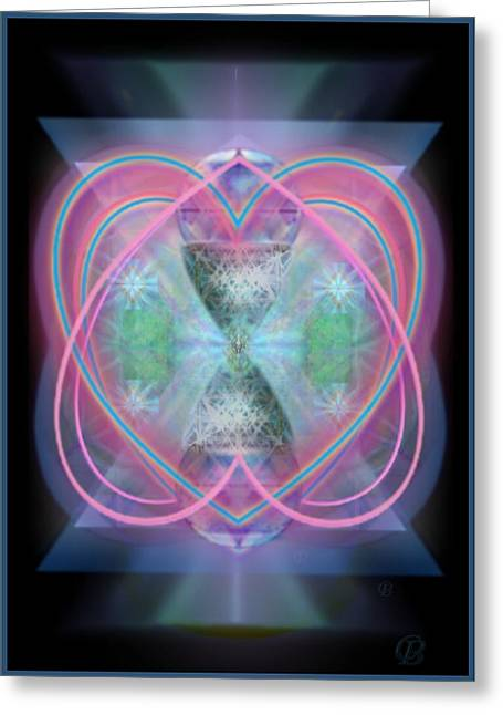 Intwined Hearts Chalice Enveloping Orbs Vortex Fired Greeting Card by Christopher Pringer