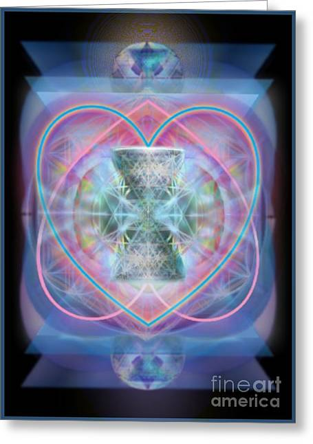 Intwined Hearts Chalice Wings Of Vortexes Radiant Deep Synthesis Greeting Card by Christopher Pringer