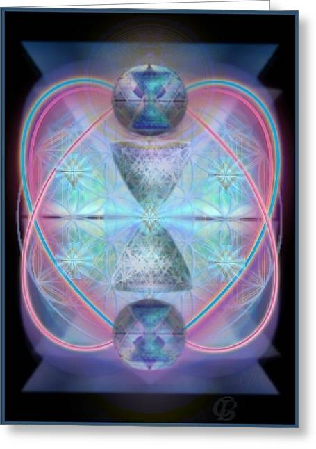 Intwined Hearts Gold-lipped 3d Chalice Orbs Radiance Greeting Card by Christopher Pringer