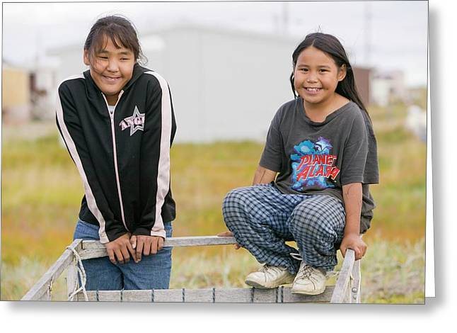 Inuit Children On Shishmaref Greeting Card by Ashley Cooper