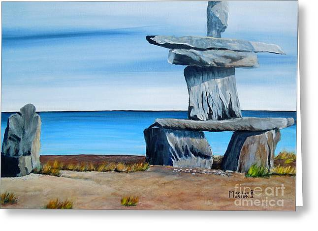Human Survival Paintings Greeting Cards - Inukshuk 2 Greeting Card by Marilyn  McNish