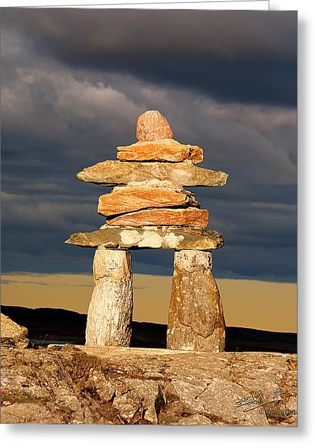 Elisabeth Van Eyken Photographs Greeting Cards - Inukshuk Greeting Card by Elisabeth Van Eyken