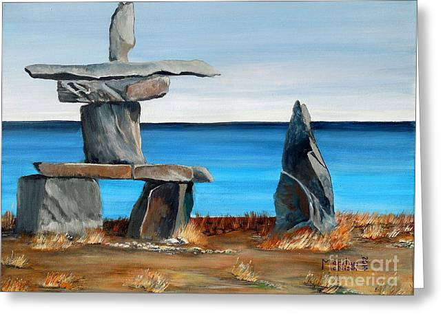 Human Survival Paintings Greeting Cards - Inukshuk 3 Greeting Card by Marilyn  McNish