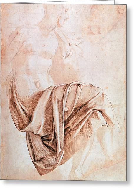 Hatching Greeting Cards - Inv. 1887-5-2-118 Recto W.10 Study Of Drapery Drawing Greeting Card by Michelangelo Buonarroti
