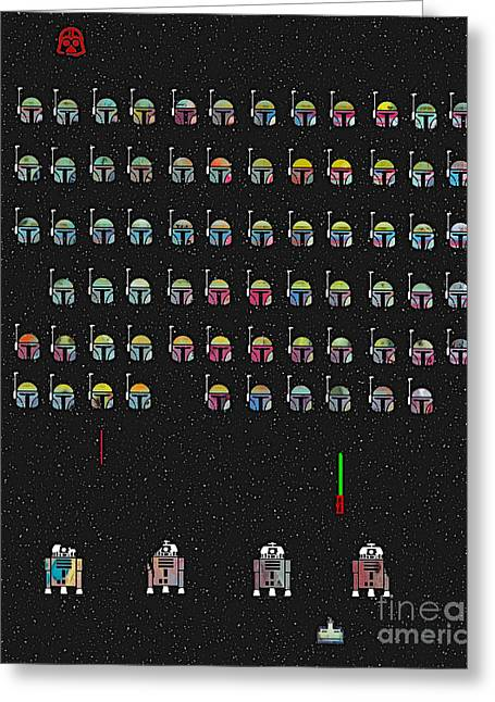 Childrens Poster Greeting Cards -  star Invaders Greeting Card by Bri Buckley