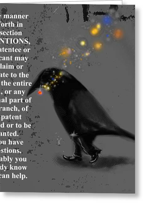 Corvus Greeting Cards - Inventions Greeting Card by Marcello Cicchini