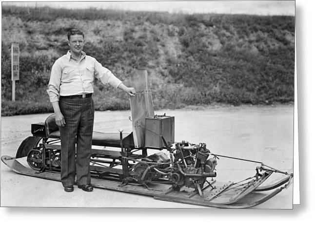 Inventor Of First Snowmobile Greeting Card by Underwood Archives