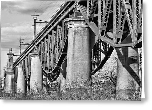 Harlem River Greeting Cards - Inverted BW Greeting Card by JC Findley