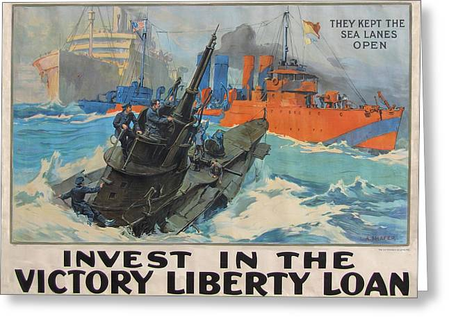 Ww1 Greeting Cards - Invest In Victory Greeting Card by L A Shafer