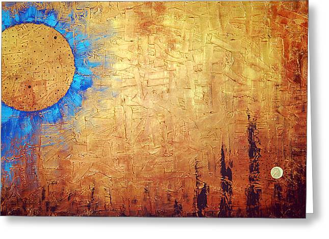 Brown Prints Greeting Cards - Invisible Blue Sun Greeting Card by Sharon Cummings