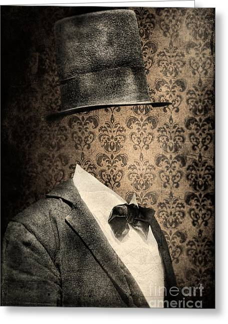 Invisible Greeting Cards - Invisible Man in Top Hat and Bow Tie Greeting Card by Jill Battaglia