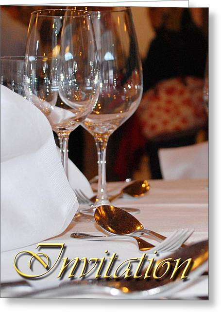 Dinner Party Invitation Greeting Cards - Invitation Greeting Card by Karin Stein