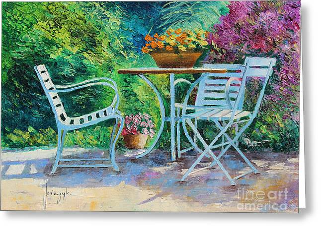 Garden Chair Greeting Cards - Invitation to the Garden Greeting Card by Jean-Marc Janiaczyk