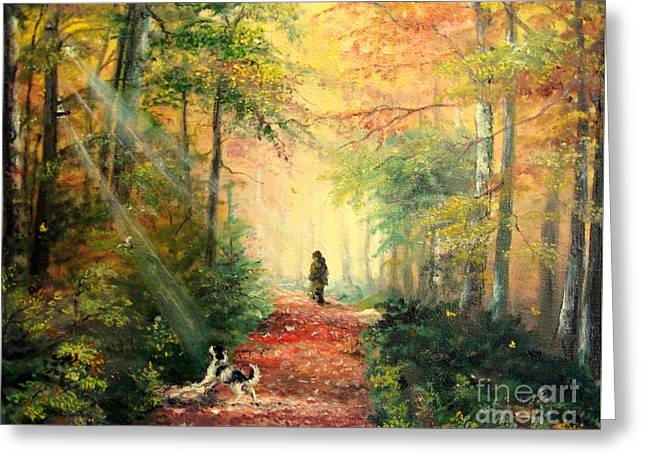 Landscape Posters Greeting Cards - Invitation to walk   Greeting Card by Sorin Apostolescu