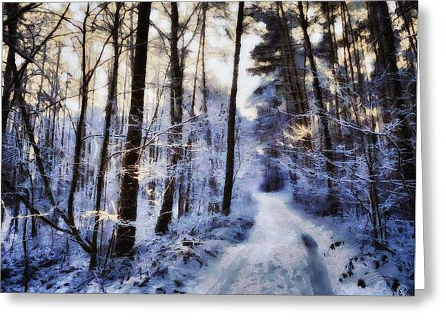 Snowy Roads Digital Art Greeting Cards - Inviting for a sunday walk Greeting Card by Gun Legler