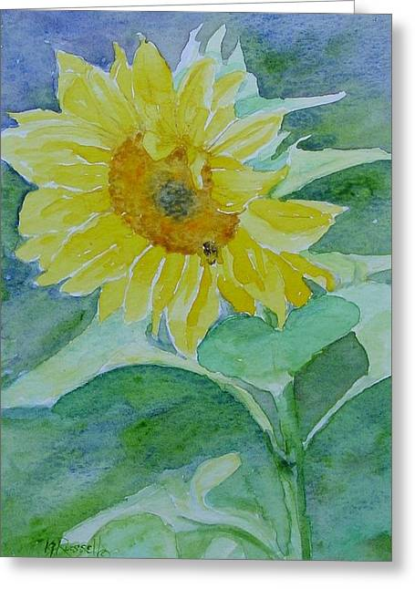 Inviting Sunflower Small Sunflower Art Greeting Card by K Joann Russell
