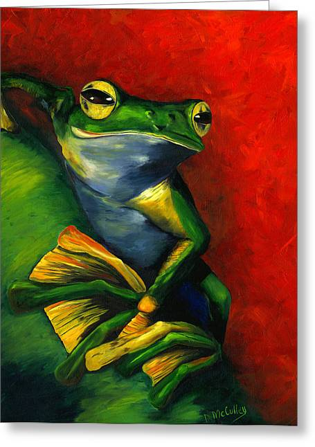 Tree Frog Paintings Greeting Cards - Inward Bound Greeting Card by Debbie McCulley
