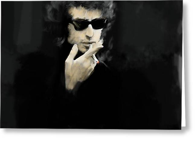 Bob Dylan Print Greeting Cards - Inwardly Faded  Bob Dylan Greeting Card by Iconic Images Art Gallery David Pucciarelli