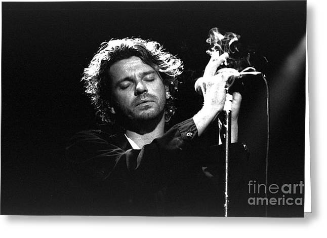 Live Performance Greeting Cards - INXS-Michael-GP04 Greeting Card by Timothy Bischoff
