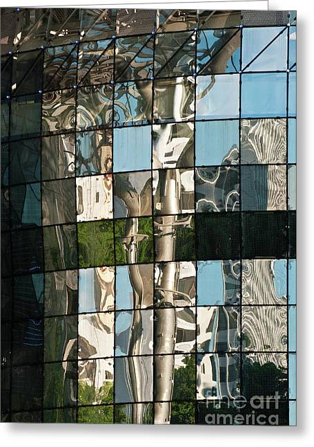 Glass Wall Greeting Cards - ION Orchard Reflections Greeting Card by Rick Piper Photography