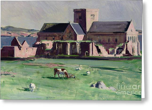 Buildings By The Ocean Greeting Cards - Iona Abbey from the northwest Greeting Card by Francis Campbell Boileau Cadell