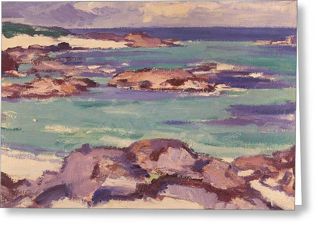 Isolated Paintings Greeting Cards - Iona Greeting Card by Samuel Peploe