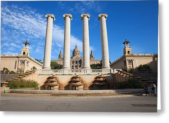 National Building Museum Greeting Cards - Ionic Columns and National Art Museum of Catalonia Greeting Card by Artur Bogacki