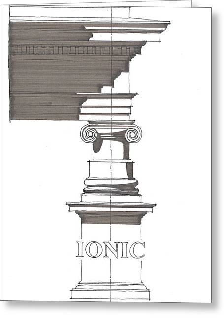 Ancient Ruins Drawings Greeting Cards - Ionic Order Greeting Card by Calvin Durham